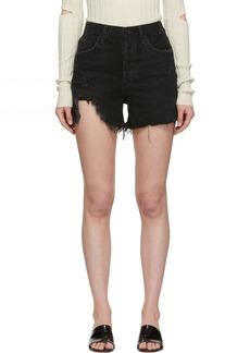 Agolde Black Dee Ultra High-Rise Close Fit Shorts