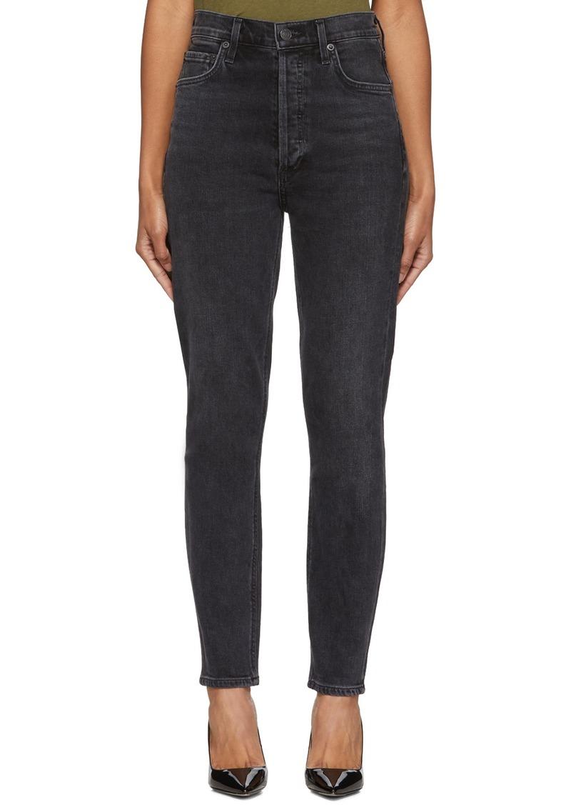 Agolde Black Nico High-Rise Slim Jeans