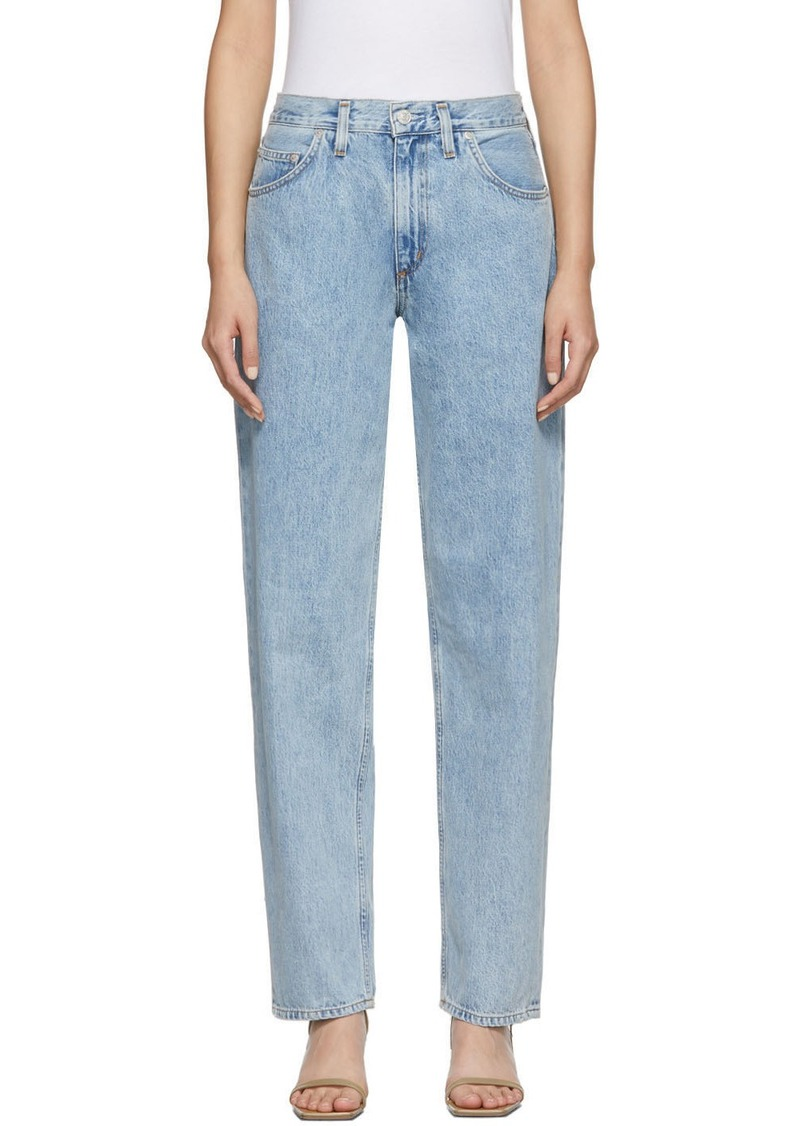 Agolde Blue Baggy Mid Rise Pleated Oversized Jeans