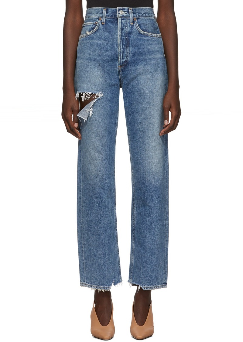 Agolde Blue Organic 90's Mid Rise Loose Fit Jeans