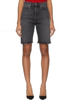 Agolde Grey Denim 90's Mid Rise Loose Shorts