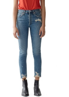 Agolde Jamie High-Rise Distressed Skinny Jeans with Chewed Hem