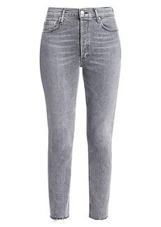 Agolde Nico High-Rise Raw-Hem Ankle Slim Jeans