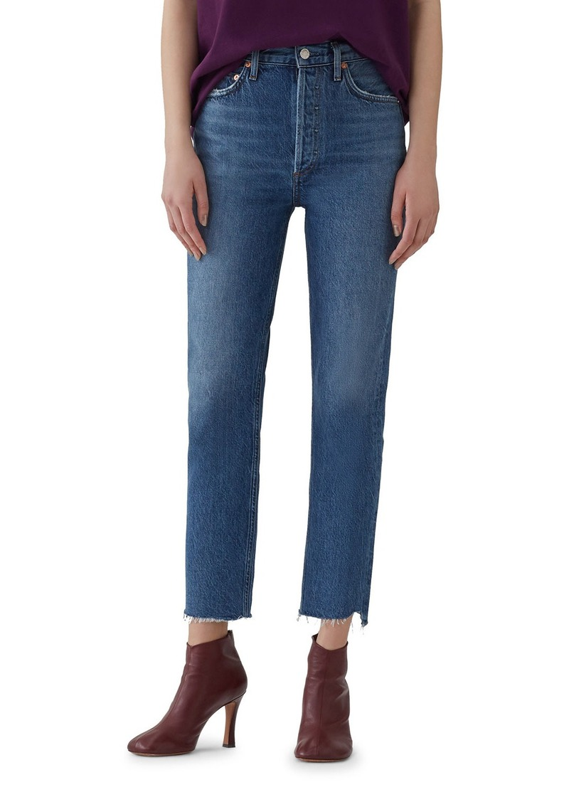 Agolde Riley Crop High-Rise Straight Jeans