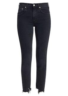 Agolde Toni Mid-Rise Distressed-Hem Ankle Slim Jeans