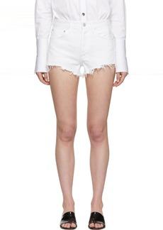Agolde White Denim Parker Shorts