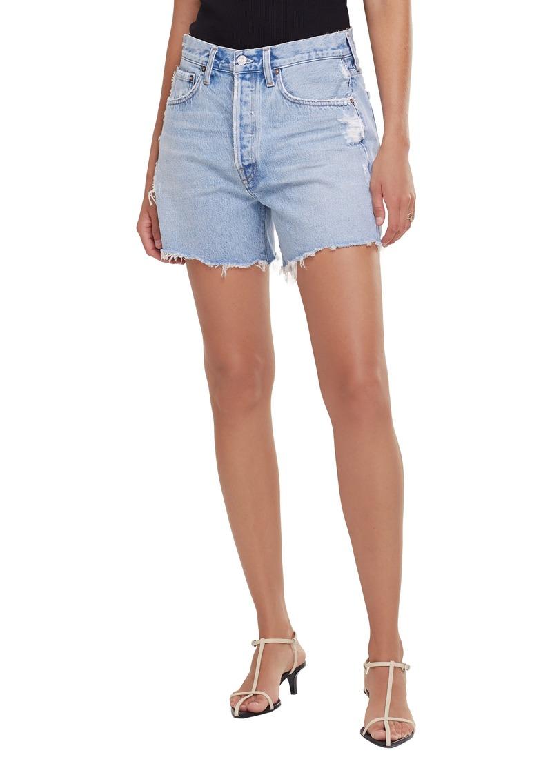 Women's Agolde Parker Distressed Organic Cotton Denim Shorts