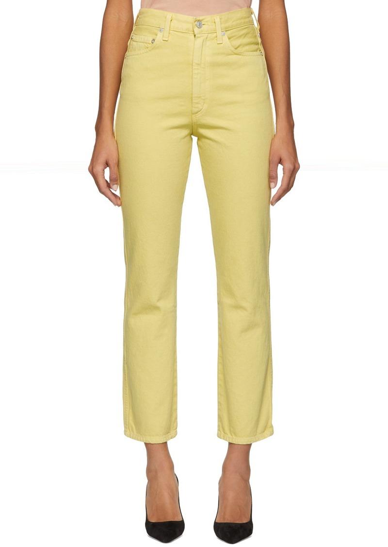 Agolde Yellow Pinch Waist Hi Rise Kick Jeans