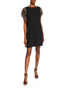 Aidan Mattox Trapeze Cocktail Dress with Beaded Sleeves