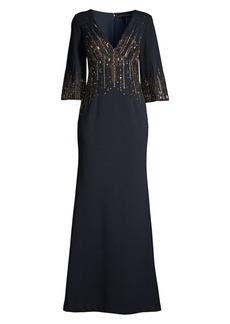 Aidan Mattox Beaded Crepe Evening Gown