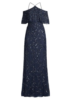 Aidan Mattox Beaded Off-The-Shoulder Gown