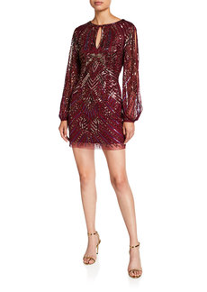 Aidan Mattox Beaded Split-Sleeve Mini Cocktail Dress