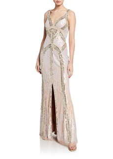 Aidan Mattox Beaded V-Neck Sleeveless Column Gown with Front-Slit
