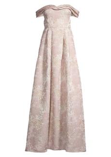 Aidan Mattox Brocade Off-The-Shoulder Gown