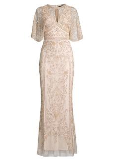 Aidan Mattox Cape Embellished Gown