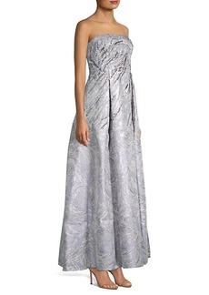 Aidan Mattox Embellished Jacquard Strapless Gown