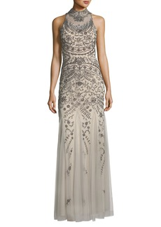 Aidan Mattox Embellished Mock-Neck Open-Back Gown