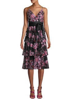 Aidan Mattox Fit-&-Flare Embroidered Lace Tiered Cocktail Dress