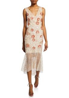 Aidan Mattox Floral Beaded V-Neck Sleeveless Midi Dress