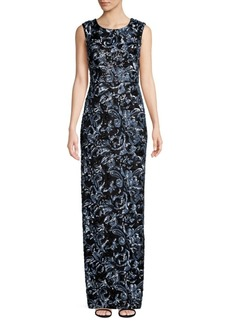 Aidan Mattox Floral-Embroidered Jacquard Sequin Gown