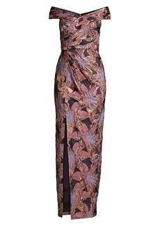 Aidan Mattox Floral Jacquard Off-the-Shoulder Ruched Column Gown