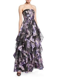 Aidan Mattox Floral-Print Strapless Ruffle-Skirt Gown
