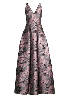 Aidan Mattox Floral V-Neck Ball Gown