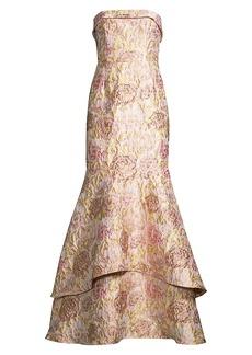 Aidan Mattox Jacquard Strapless Tiered Gown