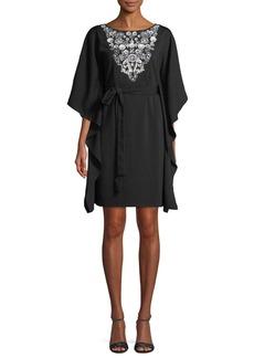 Aidan Mattox Kaftan Insert-Front Mini Dress