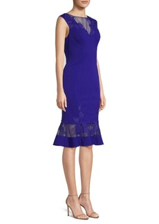 Aidan Mattox Lace-Accented Cocktail Dress