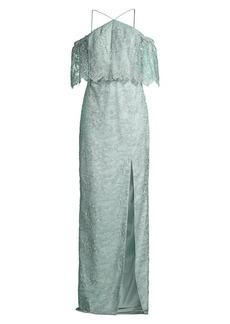 Aidan Mattox Lace Cold-Shoulder Gown