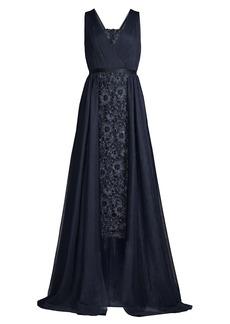 Aidan Mattox Lace Drape Overlay Midi Dress