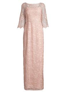 Aidan Mattox Lace Scalloped-Sleeve Gown