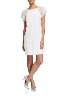 Aidan Mattox Lace Short-Sleeve Crepe Trapeze Dress