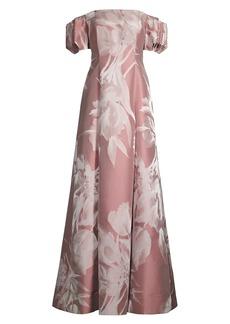 Aidan Mattox Off-The-Shoulder Floral Jacquard Gown