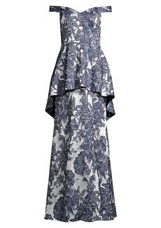 Aidan Mattox Off-The-Shoulder Floral Peplum Gown