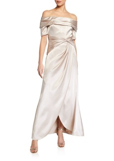 Aidan Mattox Off-the-Shoulder Short-Sleeve Gathered Satin Gown