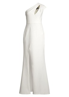 Aidan Mattox One-Shoulder Cutout Gown
