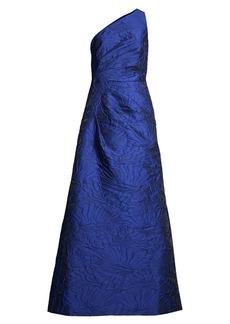 Aidan Mattox One-Shoulder Floral Jacquard A-Line Gown
