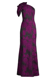 Aidan Mattox One-Shoulder Floral Jacquard Gown