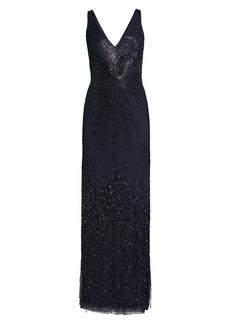 Aidan Mattox Plunge V-Neck Beaded Gown