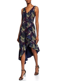 Aidan Mattox Printed V-Neck Sleeveless Asymmetric High-Low Dress
