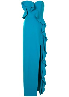 Aidan Mattox ruffle-trimmed strapless gown