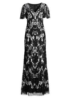 Aidan Mattox Sequin Fully Beaded Dress