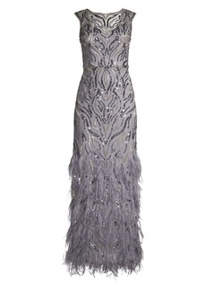 Aidan Mattox Sequined & Feathered Tulle Column Gown