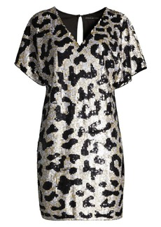 Aidan Mattox Sequined Leopard V-Neck Dress
