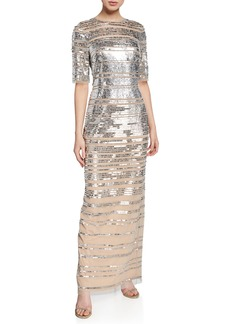 Aidan Mattox Sequined Ombre Elbow-Sleeve Column Gown
