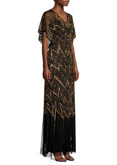 Aidan Mattox Embellished V-Neck Gown