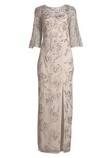 Aidan Mattox Swirl Embellished Bell-Sleeve Gown