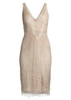 Aidan Mattox V-Neck Beaded Cocktail Dress
